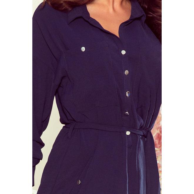 Tmavomodré košeľové šaty s viazaním v páse pre dámy