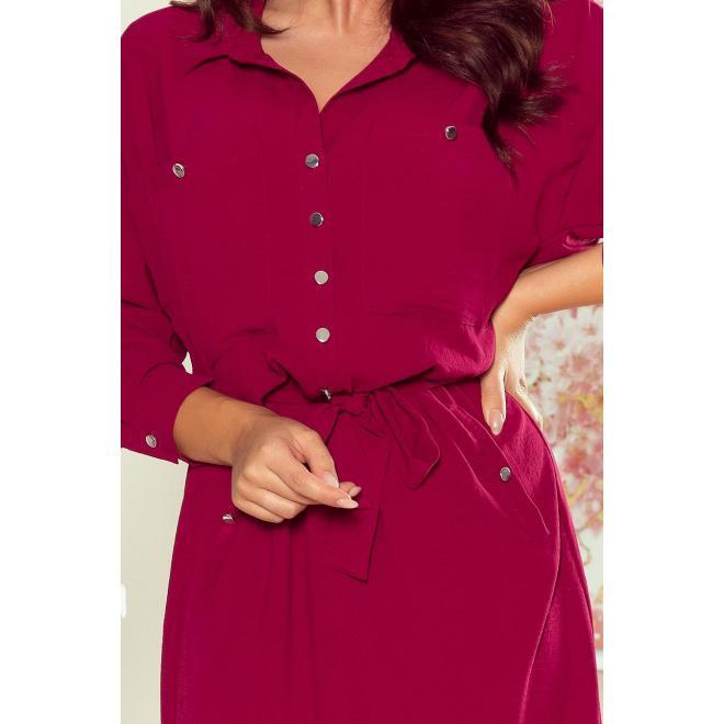 Košeľové dámske šaty bordovej farby s viazaním v páse