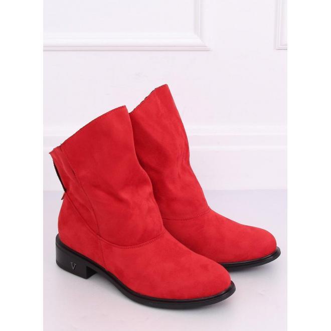 Červené semišové topánky s nariaseným zvrškom pre dámy