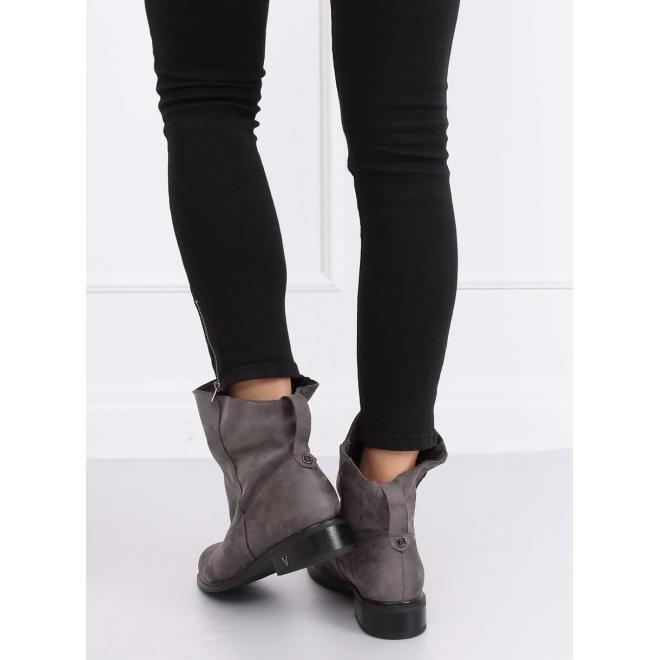 Semišové dámske topánky sivej farby s nariaseným zvrškom