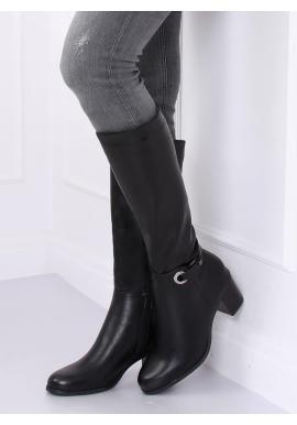 Klasické dámske čižmy čiernej farby na stabilnom opätku