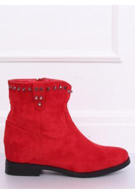 Dámske semišové topánky na skrytom opätku v červenej farbe