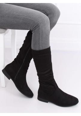 Dámske semišové čižmy s nariaseným zvrškom v čiernej farbe
