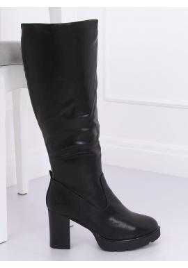 Čierne oteplené čižmy na podpätku pre dámy