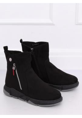 Semišové dámske topánky čiernej farby na vysokej podrážke