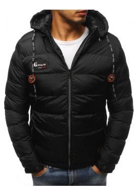 Čierna prešívaná bunda na zimu pre pánov