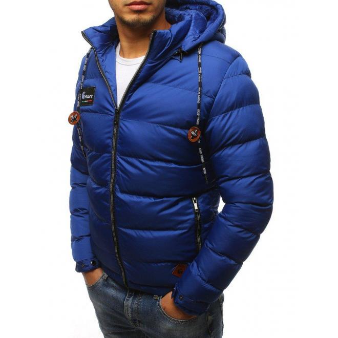 Pánska prešívaná bunda na zimu v svetlomodrej farbe