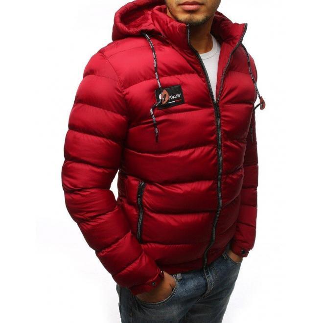 Bordová prešívaná bunda na zimu pre pánov