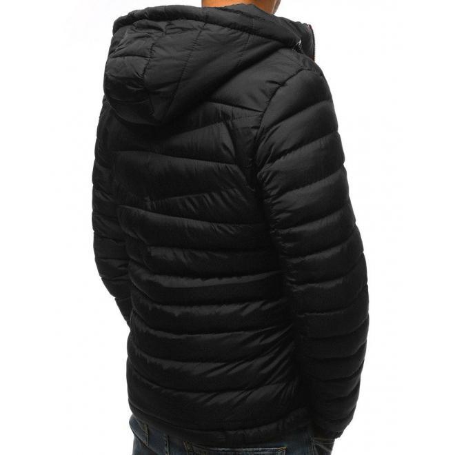 Pánska prešívaná bunda na zimu v čiernej farbe