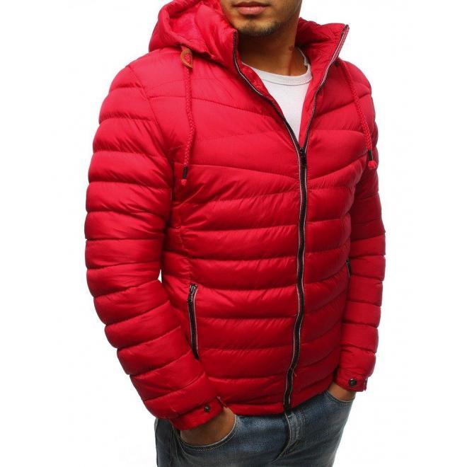 Pánske prešívané bundy na zimu v červenej farbe