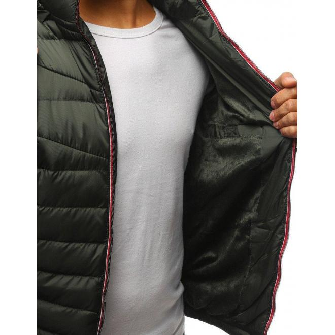 Prešívaná pánska bunda zelenej farby na zimu