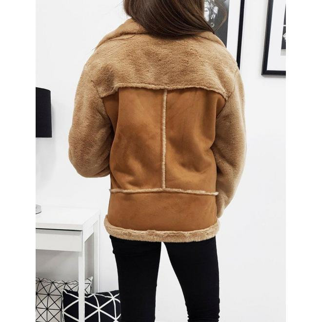 Dámska zimná bunda s asymetrickým zipsom v hnedej farbe