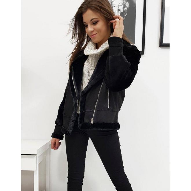 Čierna zimná bunda s asymetrickým zipsom pre dámy