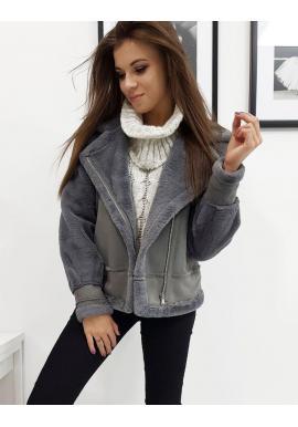 Zimná dámska bunda tmavosivej farby s asymetrickým zipsom