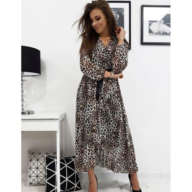 Dámske dlhé šaty s leopardím vzorom