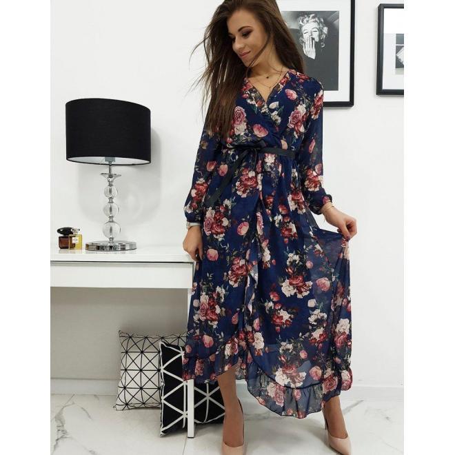 Tmavomodré dlhé šaty s kvetmi pre dámy