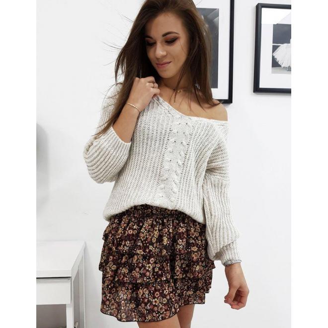 Dámsky módny sveter s výstrihom v tvare V v svetlobéžovej farbe
