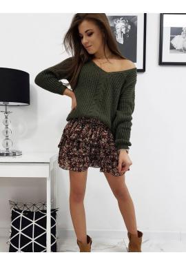 Zelený módny sveter s výstrihom v tvare V pre dámy