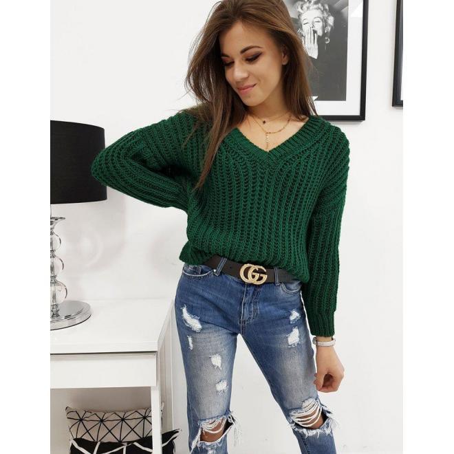 Dámsky klasický sveter s výstrihom v tvare V v zelenej farbe