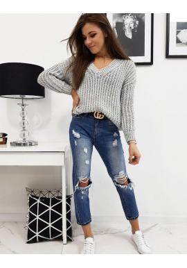 Svetlosivý klasický sveter s výstrihom v tvare V pre dámy
