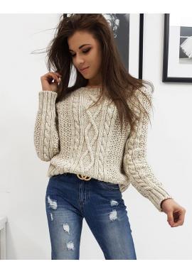 Svetlobéžový štýlový sveter s okrúhlym výstrihom pre dámy