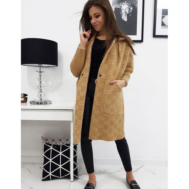 Dámsky módny kabát so vzorom v béžovej farbe