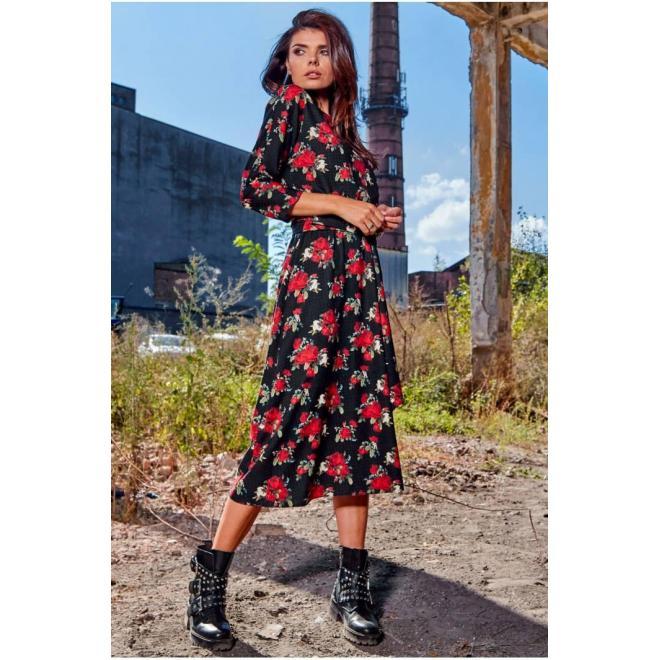 Dlhé dámske šaty čiernej farby s kvetmi