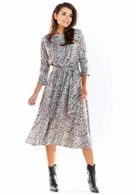 Dámske dlhé šaty s motívom hadej kože v sivej farbe