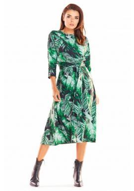 Zelené dlhé šaty s motívom listov pre dámy