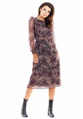 Vzorované dámske šaty s volánmi