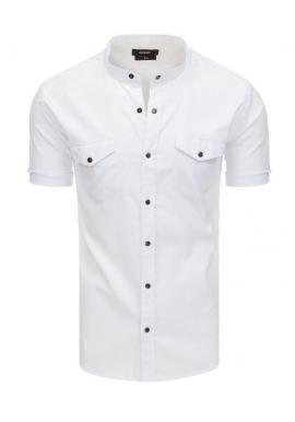 Neformálna pánska košeľa bielej farby so stojacím golierom
