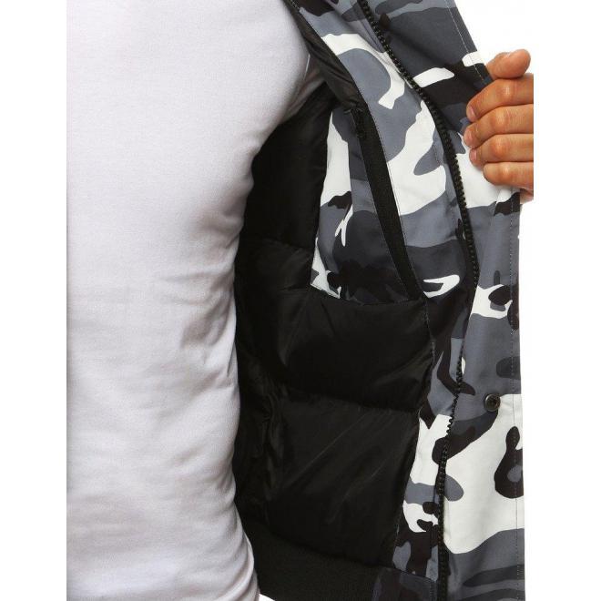 Maskáčová pánska bunda sivo-bielej farby na zimu