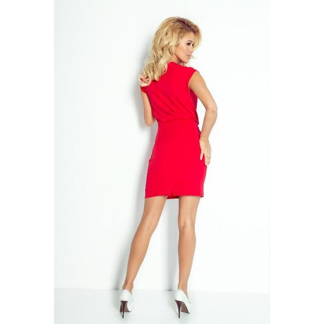 Dámske šaty s preloženým výstrihom - červené