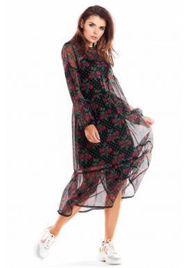 Čierne dvojvrstvové šaty s kvetmi pre dámy