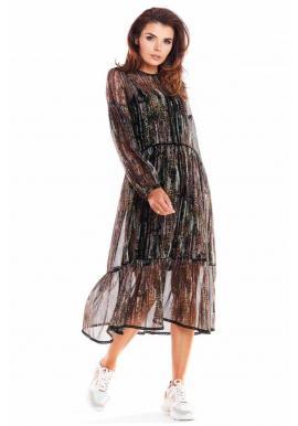 Dámske dvojvrstvové šaty so vzorom