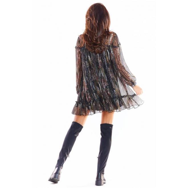 Farebné krátke šaty so vzorom pre dámy
