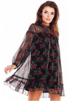 Dámske krátke šaty s kvetmi v čiernej farbe
