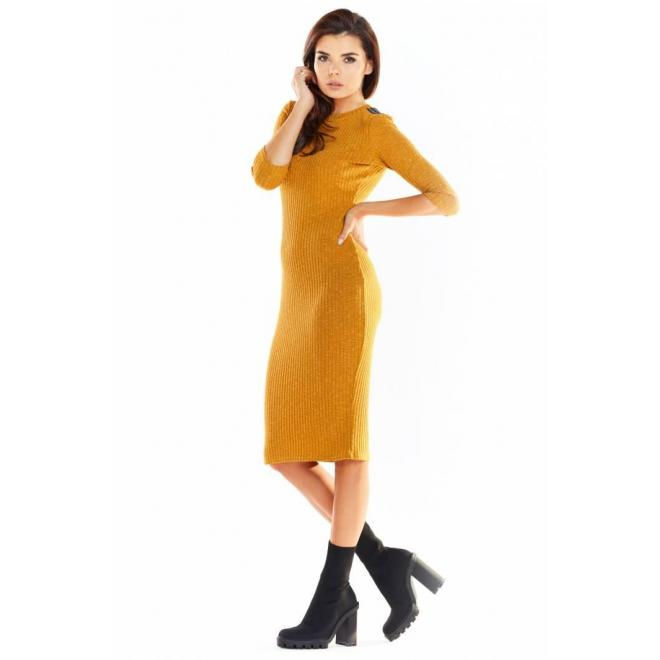 Ťavie priliehavé šaty s 3/4 rukávom pre dámy