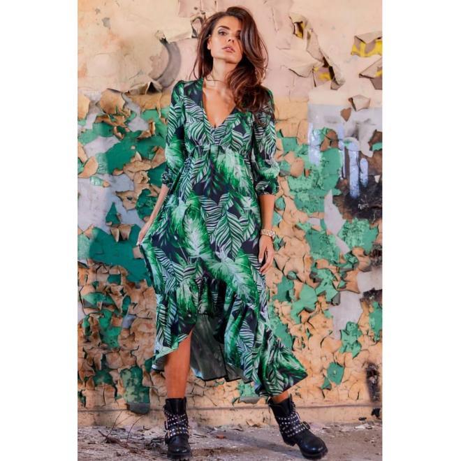 Zelené maxi šaty s motívom listov pre dámy