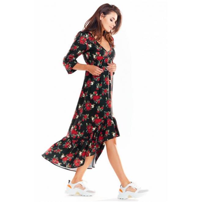 Maxi dámske šaty čiernej farby s motívom kvetov