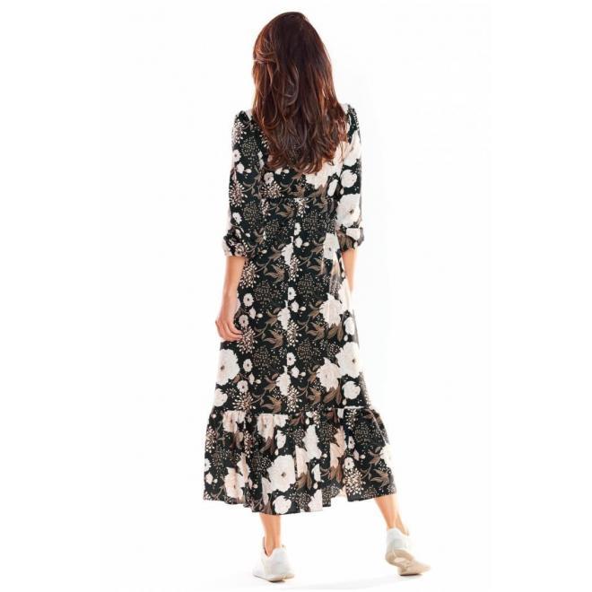 Dámske maxi šaty s motívom kvetov v čiernej farbe