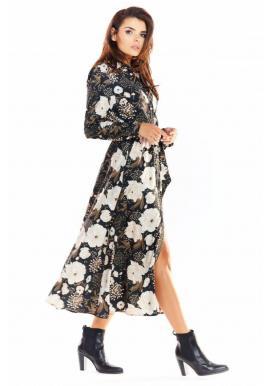 Čierne maxi šaty s motívom kvetov pre dámy