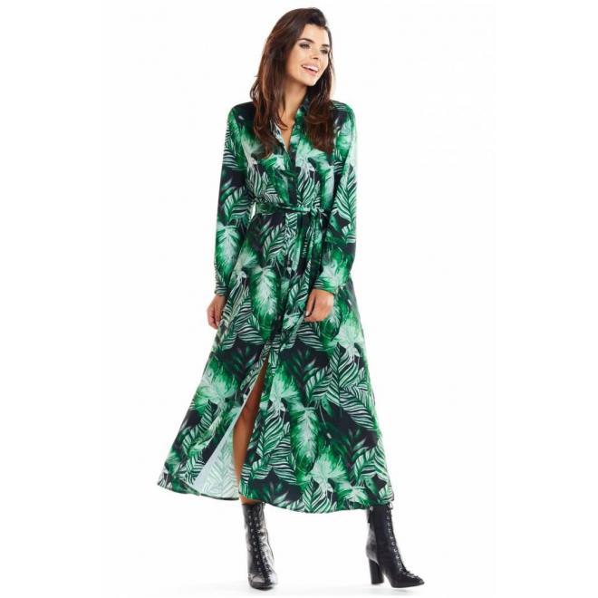 Maxi dámske šaty zelenej farby s motívom listov