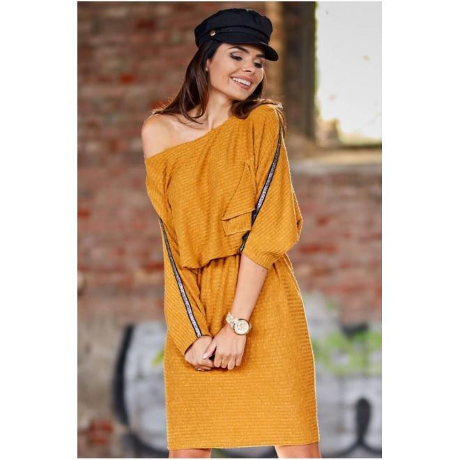 Ťavie oversize šaty s dlhým rukávom pre dámy