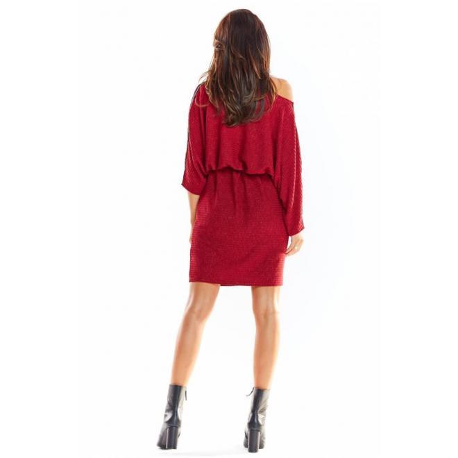 Oversize dámske šaty bordovej farby s dlhým rukávom