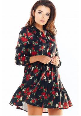 Košeľové dámske šaty čiernej farby s motívom kvetov