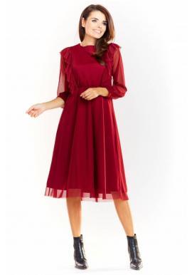 Dámske tylové šaty s volánmi v bordovej farbe