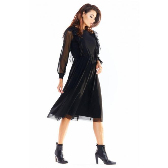 Čierne tylové šaty s volánmi pre dámy
