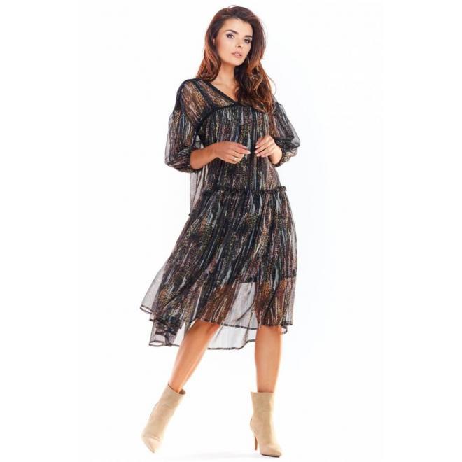 Dámske vzorované šaty s čipkovanými vložkami