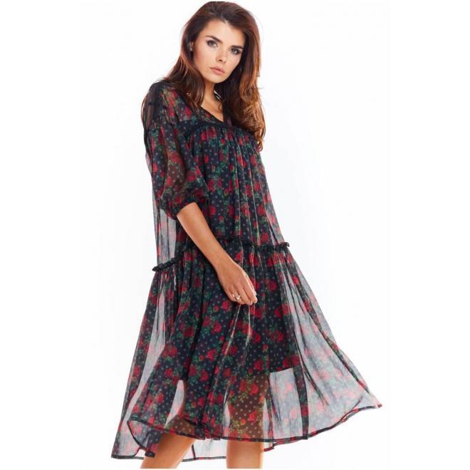 Čierne kvetované šaty s čipkovanými vložkami pre dámy